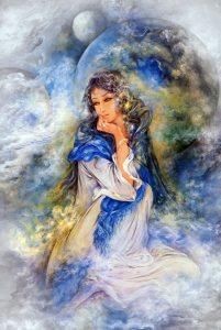 تابلو نقاشی زیبا به سبک مینیاتور-الهه کهکشان