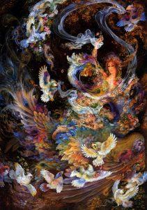 تابلو نقاشی زیبا به سبک مینیاتور-باغ عدن