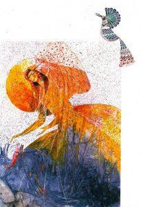 تابلو نقاشی زیبای طرح گواش-بانو و هدهد