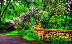 تابلو طبیعت -باغ گلهای بهاری