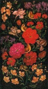 تذهیب فارسی به سبک گل و پرنده با گلهای قرمز در مرکز