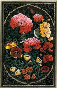 تذهیب فارسی سبک گل و پرنده1