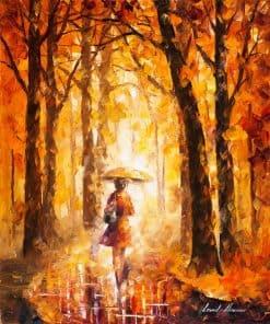 تابلو نقاشی مدرن-برگ ریزان و تنهایی