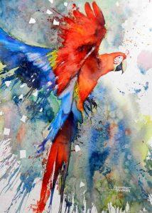 تابلو نقاشی مدرن-طوطی و رنگها