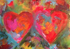 تابلو نقاشی مدرن بسیار زیبا-قلبهای رنگی