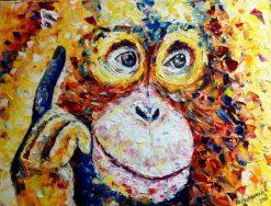 تابلوی زیبای حیوانات-نقاشی شامپانزه بانمک