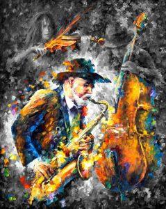 تابلو نقاشی-نوازنده ترومپت