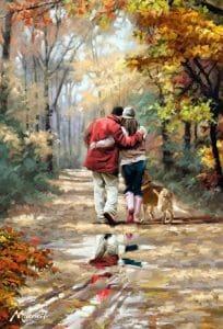 تابلو نقاشی مدرن-پاییز و عشق