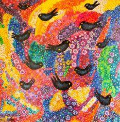 تابلو نقاشی زیبای پرندگان در باغ رنگارنگ11