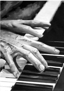 تابلو موسیقی -نقاشی مدرن از نواختن پیانو