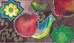 تابلو سنتی خاتون- طرح کبوتران و باغ انار