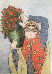 تابلو سنتی خاتون- طرح گلدان رز قرمز
