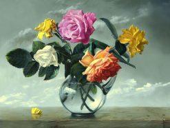 تابلو نقاشی مدرن- گلدان رزهای رنگی
