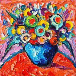 تابلو گل-گلدان زیبا با طرح گل های برجسته