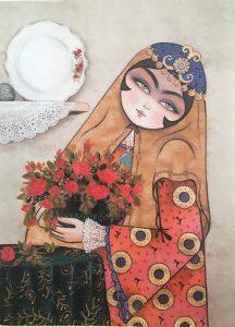 تابلو سنتی خاتون- طرح گل رز و بانو