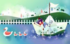 تابلو فانتزی تابلو کودک-قایق سواری