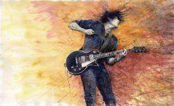 تابلو موسیقی -نقاشی زیبا از نواختن گیتار1
