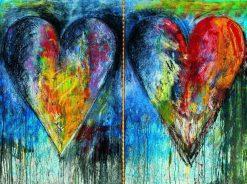 تابلو نقاشی مدرن دو قلب رنگی1