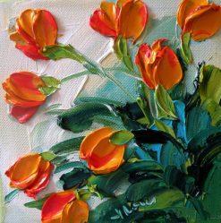 تابلو نقاشی مدرن- گلهای قرمز برجسته1