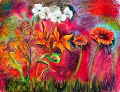 تابلو نقاشی مدرن-نقاشی زیبا از گلهای رنگارنگ1