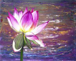 تابلو نقاشی مدرن-نقاشی فوق العاده زیبا از گل مردابی (نیلوفر)1