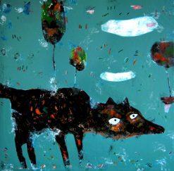 تابلو نقاشی مدرن-طرح زیبا و مدرن روباه سیاه1