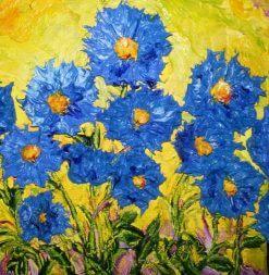 تابلو نقاشی مدرن- نقاشی گل های زیبای آبی رنگ1