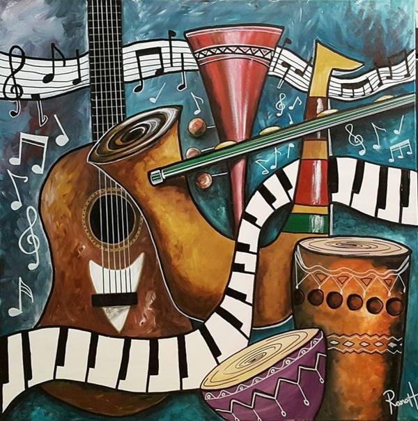 تابلو موسیقی -نقاشی مدرن آلات موسیقی