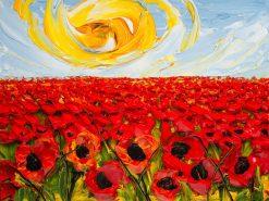 تابلو نقاشی برجسته- نمایی زیبا از دشت گلهای قرمز23