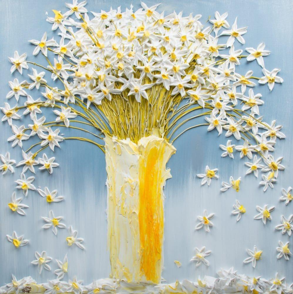 تابلو نقاشی طرح برجسته- گلدان سفید اثر Justin-Gaffrey