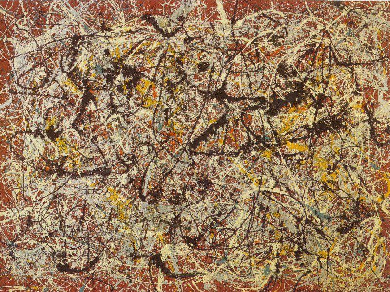 تابلو نقاشی دیواری روی زمینه قرمز هندی-جکسون پولاک1