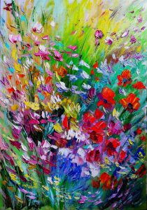تابلو نقاشی برجسته گلهای وحشی22