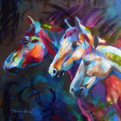 تابلو نقاشی-سه اسب زیبای رنگی
