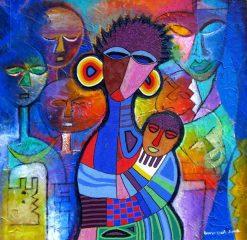 تابلو نقاشی مدرن-طرح صورتکهای آفریقایی