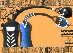 تابلو نقاشی مدرن-طرح زیبا و مدرن از صورتکهای آفریقایی