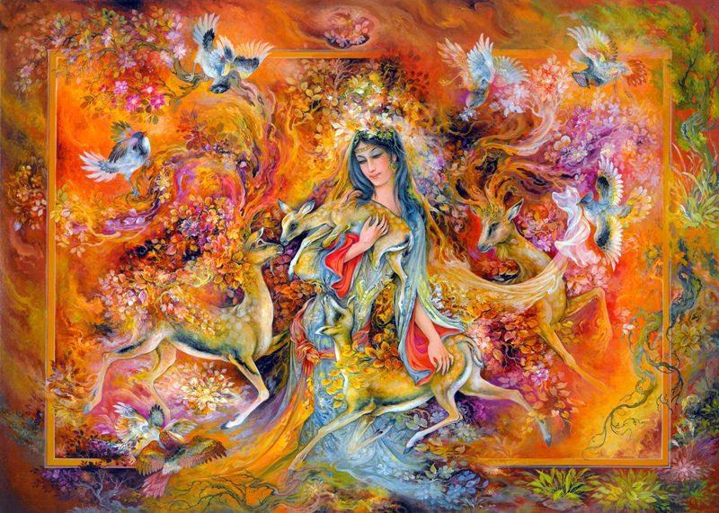 تابلو نقاشی سبک مینیاتور-غزال