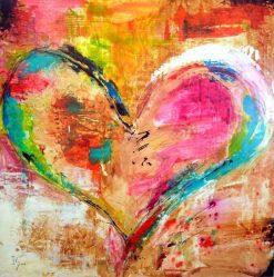 تابلو نقاشی مدرن بسیار زیبا-قلب رنگی