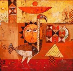 تابلو نقاشی مدرن- طرح زبایی از خورشید،پرنده و ماهی
