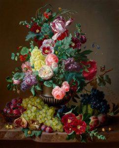 تابلو نقاشی خاص- سبد گل و میوه45