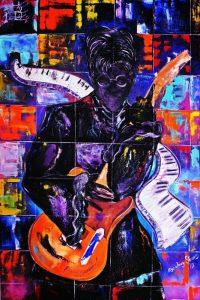 تابلو موسیقی -نقاشی مدرن از یک نوازنده موسیقی