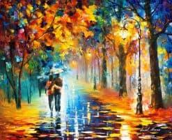 تابلو پاییز بارانی رمانتیک