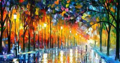 تابلو نقاشی مدرن بسیار زیبا-پاییز رنگارنگ بارانی