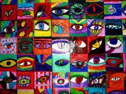تابلو نقاشی مدرن- طرحی جالب از رنگها و چشمها