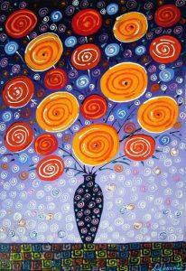 تابلو نقاشی گلدان فانتزی جدید