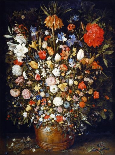 گل در گلدان چوبی