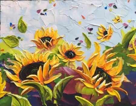 گل های آفتاب گردان زیبا با طرح نقاشی