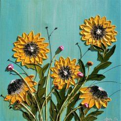 تابلو گل-گل های زرد برجسته و زیبا