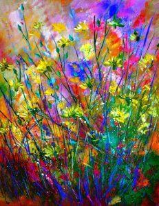 تابلو نقاشی مدرن- نقاشی گل های صحرا1