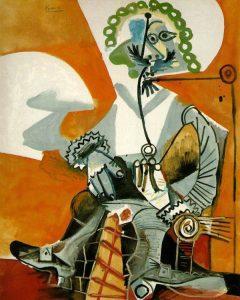 تابلو نقاشی مردی در حال پیپ کشیدن