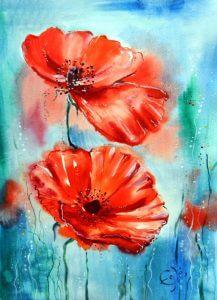 تابلو نقاشی مدرن- گل های قرمز زیبا با طرح نقاشی1